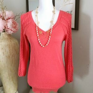 SO large coral sweater